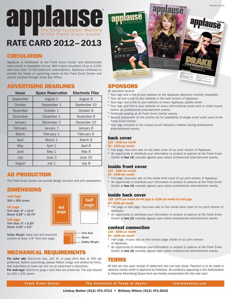 Frank Erwin Center - Applause Advertising Rate Card