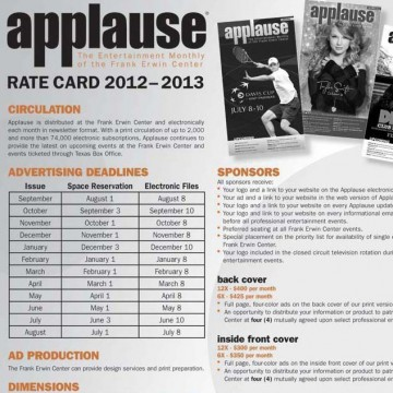 Frank Erwin Center - Applause Rate Card and Signage