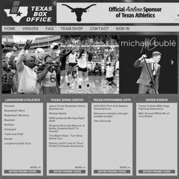 Texas Box Office Web Design